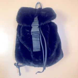 Faux Fur Faux Leather Backpack NWT